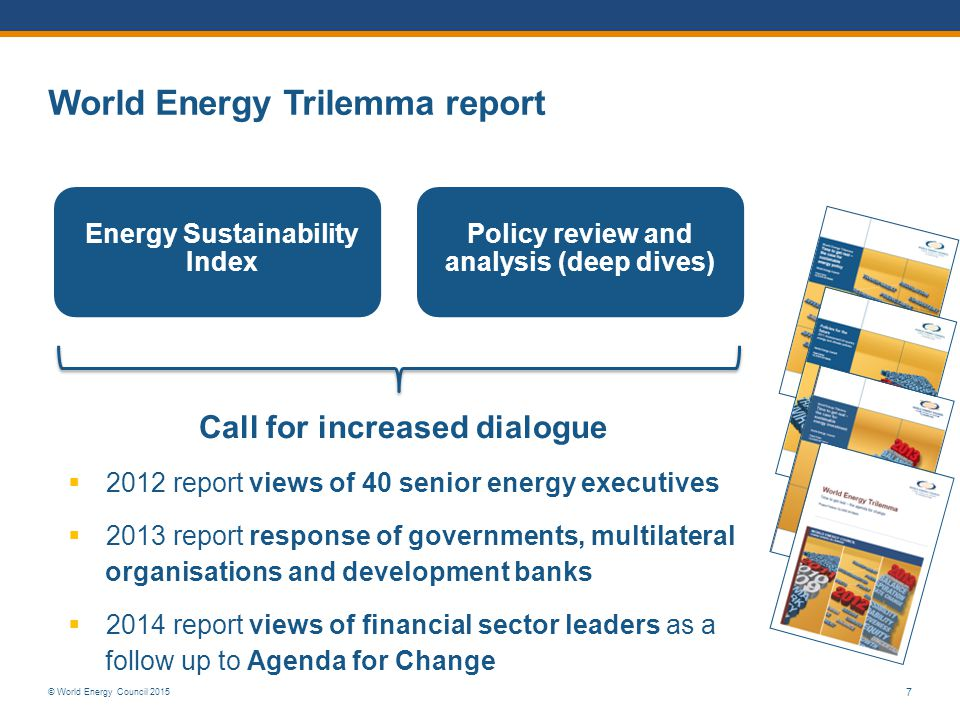 © World Energy Council 2015 7 Energy Sustainability Index Policy review and analysis (deep dives) Call for increased dialogue  2012 report views of 4