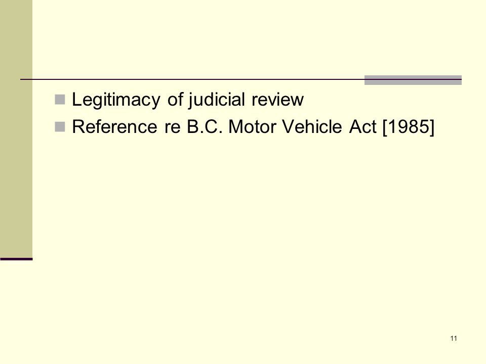 11 Legitimacy of judicial review Reference re B.C. Motor Vehicle Act [1985]