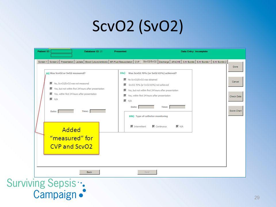 """ScvO2 (SvO2) Added """"measured"""" for CVP and ScvO2 29"""