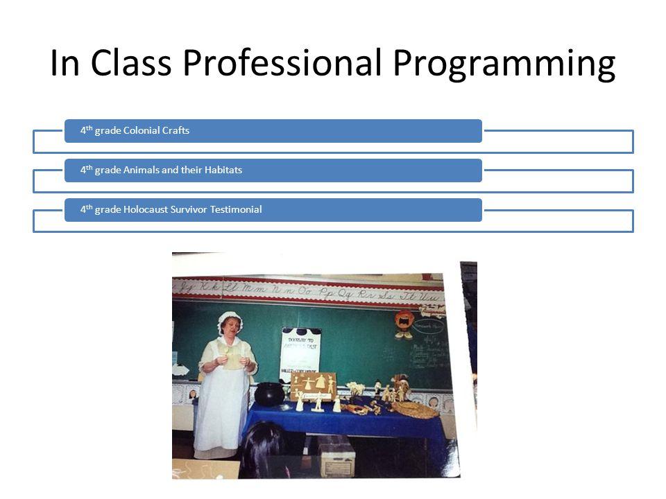 In Class Professional Programming 4 th grade Colonial Crafts4 th grade Animals and their Habitats4 th grade Holocaust Survivor Testimonial
