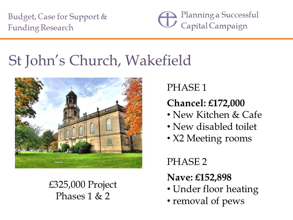 Planning a Successful Capital Campaign St John's Church, Wakefield £325,000 Project Phases 1 & 2 PHASE 1 Chancel: £172,000 New Kitchen & Cafe New disabled toilet X2 Meeting rooms PHASE 2 Nave: £152,898 Under floor heating removal of pews Budget, Case for Support & Funding Research
