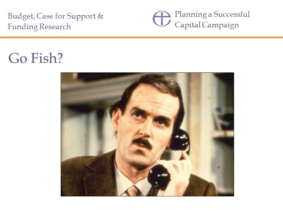 Planning a Successful Capital Campaign Go Fish? Budget, Case for Support & Funding Research