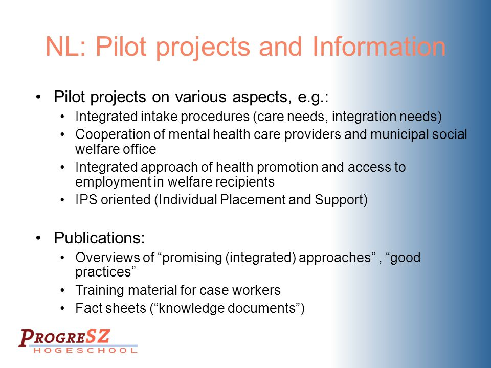 NL: Pilot projects and Information Pilot projects on various aspects, e.g.: Integrated intake procedures (care needs, integration needs) Cooperation of mental health care providers and municipal social welfare office Integrated approach of health promotion and access to employment in welfare recipients IPS oriented (Individual Placement and Support) Publications: Overviews of promising (integrated) approaches , good practices Training material for case workers Fact sheets ( knowledge documents )