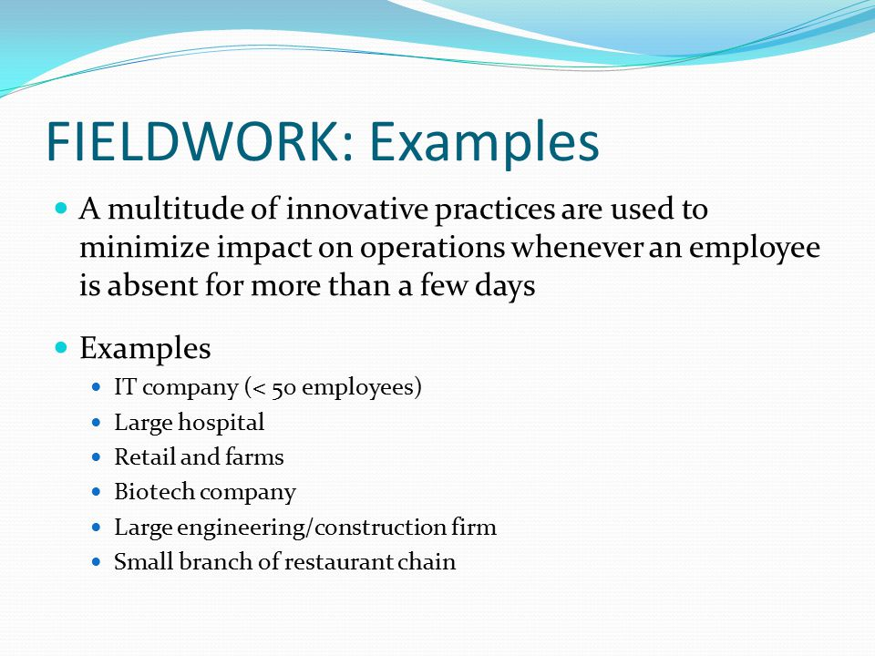 FIELDWORK: Examples A multitude of innovative practices are used to minimize impact on operations whenever an employee is absent for more than a few days Examples IT company (< 50 employees) Large hospital Retail and farms Biotech company Large engineering/construction firm Small branch of restaurant chain