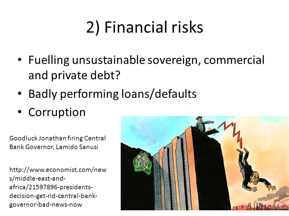 2) Financial risks Fuelling unsustainable sovereign, commercial and private debt.