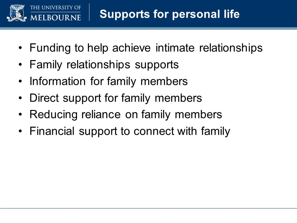 Supports for personal life Funding to help achieve intimate relationships Family relationships supports Information for family members Direct support for family members Reducing reliance on family members Financial support to connect with family
