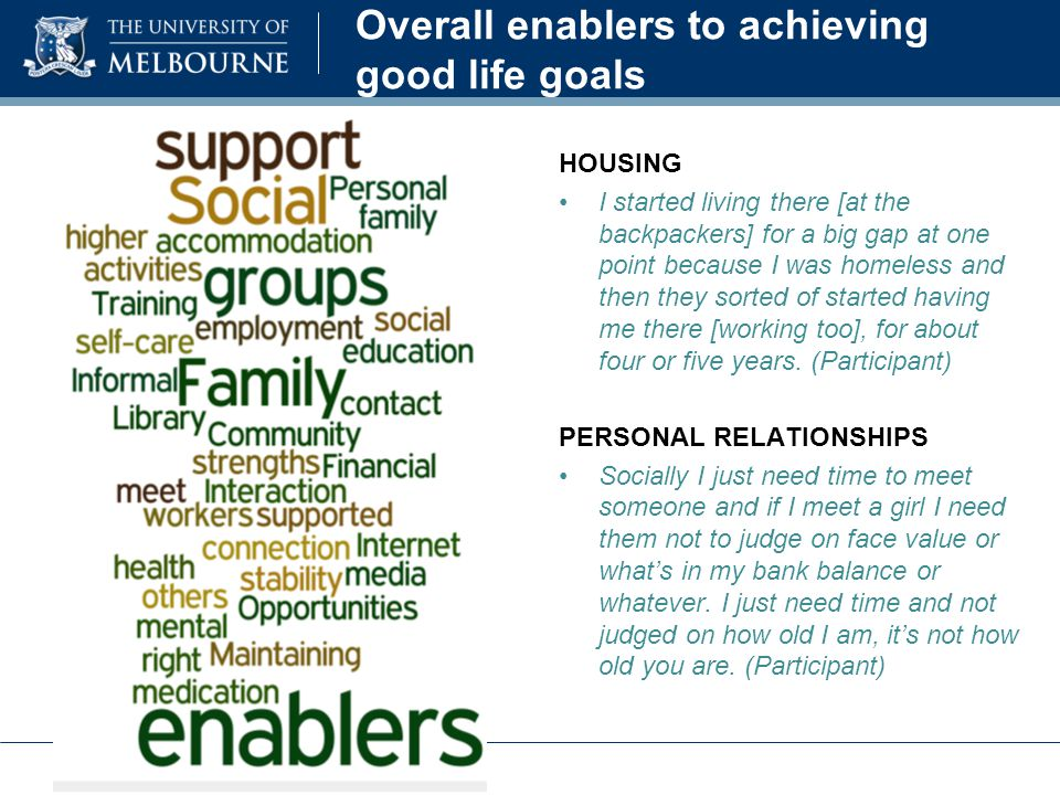Overall enablers to achieving good life goals HOUSING I started living there [at the backpackers] for a big gap at one point because I was homeless and then they sorted of started having me there [working too], for about four or five years.