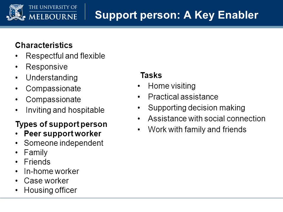 Characteristics Respectful and flexible Responsive Understanding Compassionate Inviting and hospitable Tasks Home visiting Practical assistance Supporting decision making Assistance with social connection Work with family and friends Support person: A Key Enabler Types of support person Peer support worker Someone independent Family Friends In-home worker Case worker Housing officer