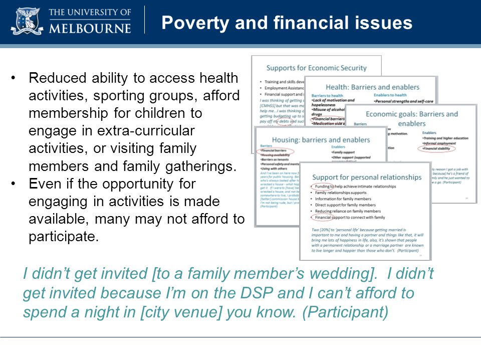 Poverty and financial issues Reduced ability to access health activities, sporting groups, afford membership for children to engage in extra-curricular activities, or visiting family members and family gatherings.
