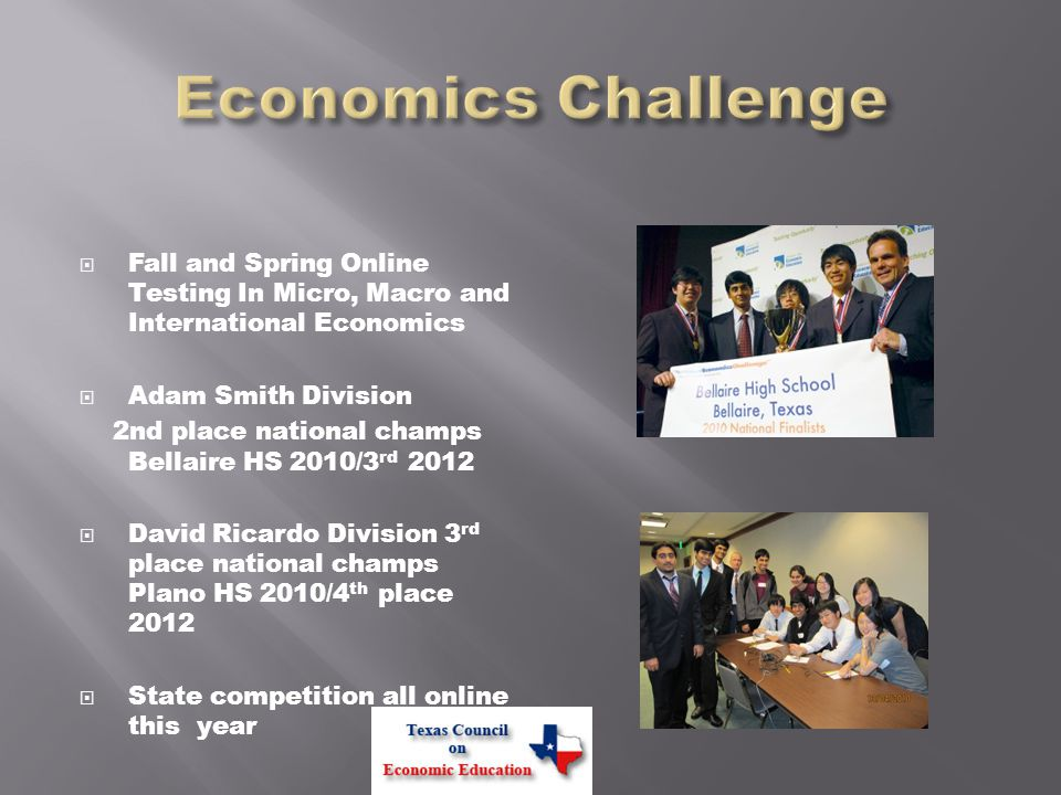  Middle and High School  Fall and spring online challenges will determine state finalist candidates  State Play-Offs in Austin with cash awards for two top teams  HS national finals at Fed in St.