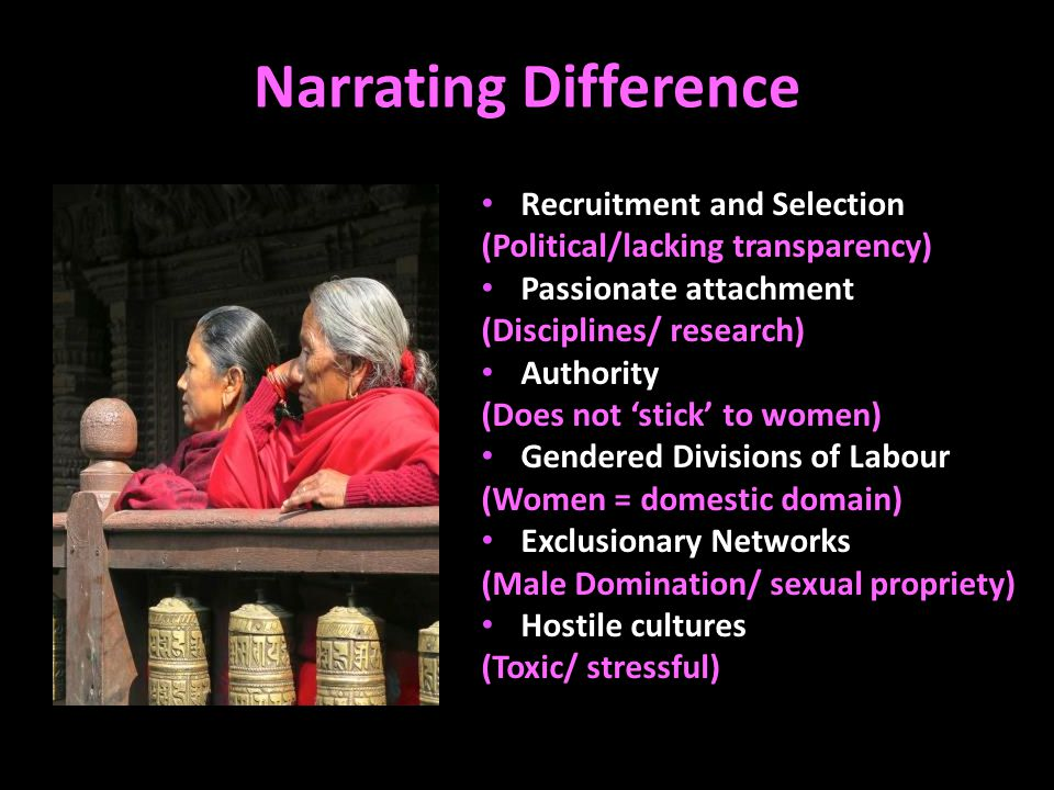 Narrating Difference Recruitment and Selection (Political/lacking transparency) Passionate attachment (Disciplines/ research) Authority (Does not 'stick' to women) Gendered Divisions of Labour (Women = domestic domain) Exclusionary Networks (Male Domination/ sexual propriety) Hostile cultures (Toxic/ stressful)