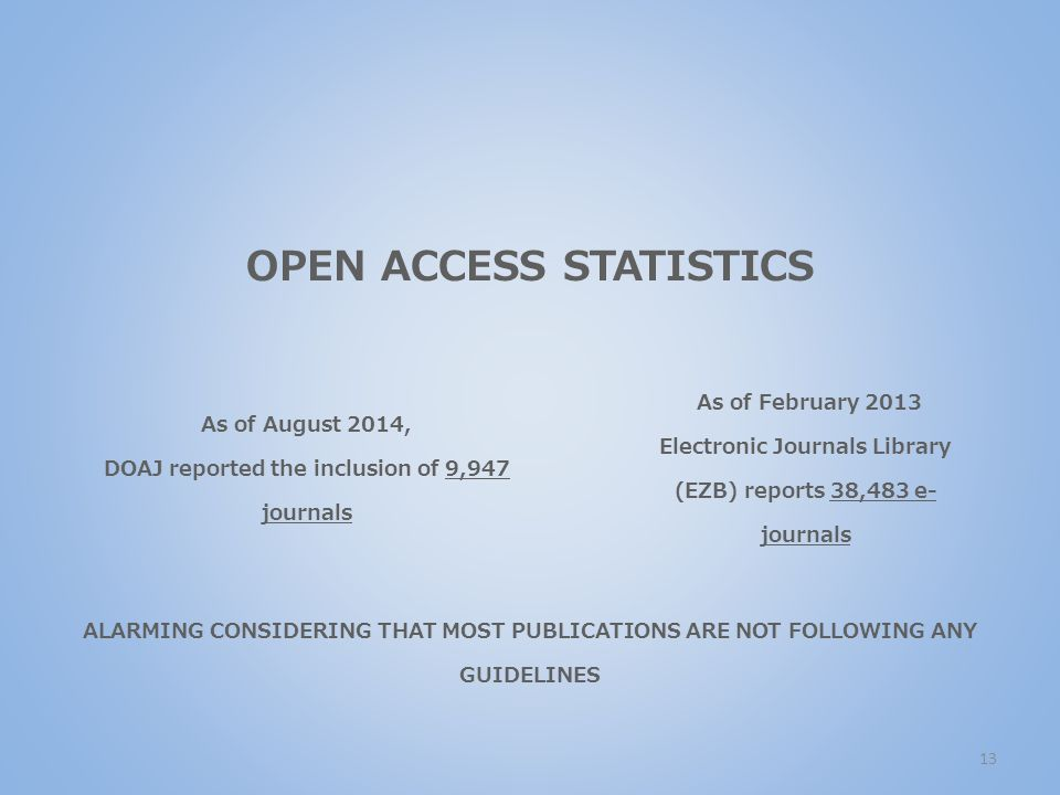 OPEN ACCESS STATISTICS As of August 2014, DOAJ reported the inclusion of 9,947 journals As of February 2013 Electronic Journals Library (EZB) reports 38,483 e- journals ALARMING CONSIDERING THAT MOST PUBLICATIONS ARE NOT FOLLOWING ANY GUIDELINES 13