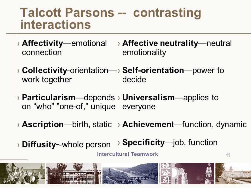 Intercultural Teamwork 11 Talcott Parsons -- contrasting interactions ›Affectivity—emotional connection ›Collectivity-orientation— work together ›Part