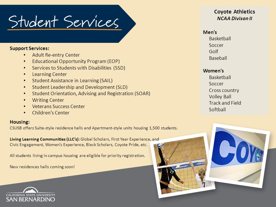 Coyote Athletics NCAA Divison II Men's Basketball Soccer Golf Baseball Women's Basketball Soccer Cross country Volley Ball Track and Field Softball Support Services: Adult Re-entry Center Educational Opportunity Program (EOP) Services to Students with Disabilities (SSD) Learning Center Student Assistance in Learning (SAIL) Student Leadership and Development (SLD) Student Orientation, Advising and Registration (SOAR) Writing Center Veterans Success Center Children's Center Housing: CSUSB offers Suite-style residence halls and Apartment-style units housing 1,500 students.