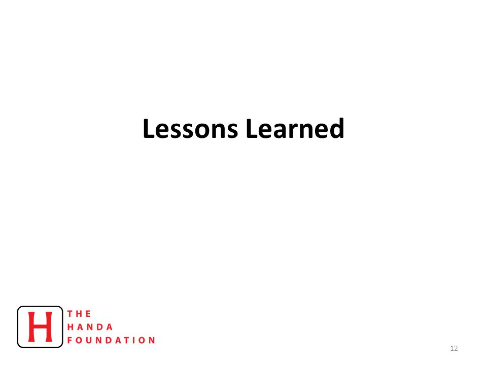 Lessons Learned 12