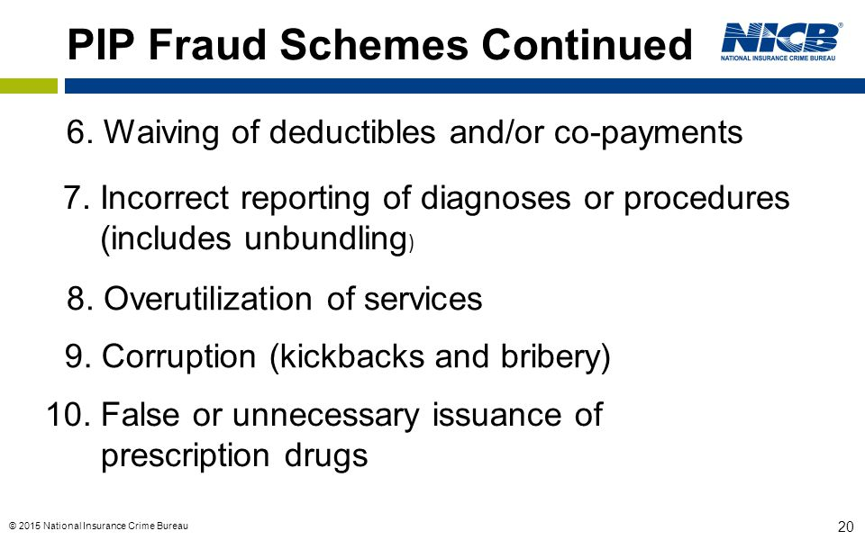 © 2015 National Insurance Crime Bureau 20 PIP Fraud Schemes Continued 6.