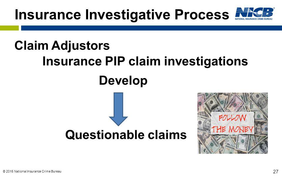 © 2015 National Insurance Crime Bureau 27 Insurance Investigative Process Insurance PIP claim investigations Questionable claims Develop Claim Adjusto