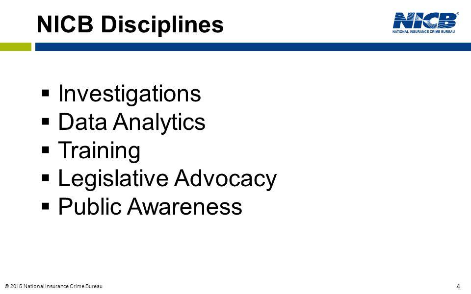 © 2015 National Insurance Crime Bureau 4 NICB Disciplines  Investigations  Data Analytics  Training  Legislative Advocacy  Public Awareness