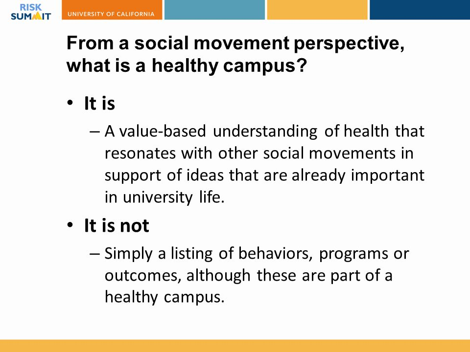 From a social movement perspective, what is a healthy campus.