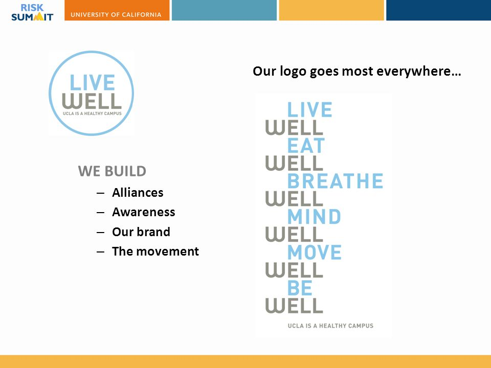 Our logo goes most everywhere… WE BUILD – Alliances – Awareness – Our brand – The movement