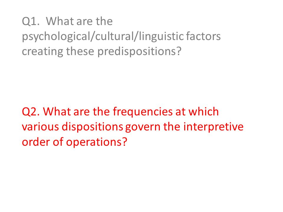 Q1. What are the psychological/cultural/linguistic factors creating these predispositions.