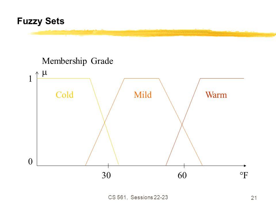 CS 561, Sessions 22-23 21 Fuzzy Sets WarmMildCold °F Membership Grade  1 0 3060