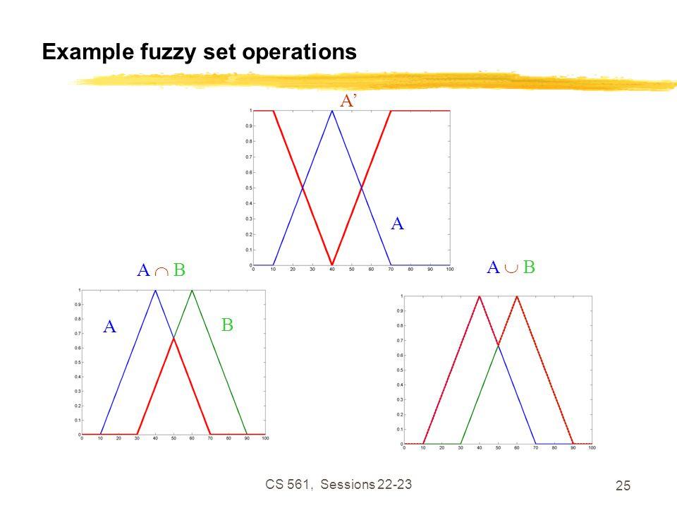CS 561, Sessions 22-23 25 Example fuzzy set operations A' A  BA  B A  BA  B A B A