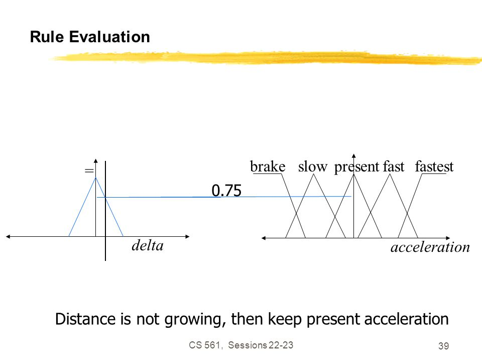 CS 561, Sessions 22-23 39 Rule Evaluation Distance is not growing, then keep present acceleration delta = 0.75 acceleration slowpresentfastfastestbrake