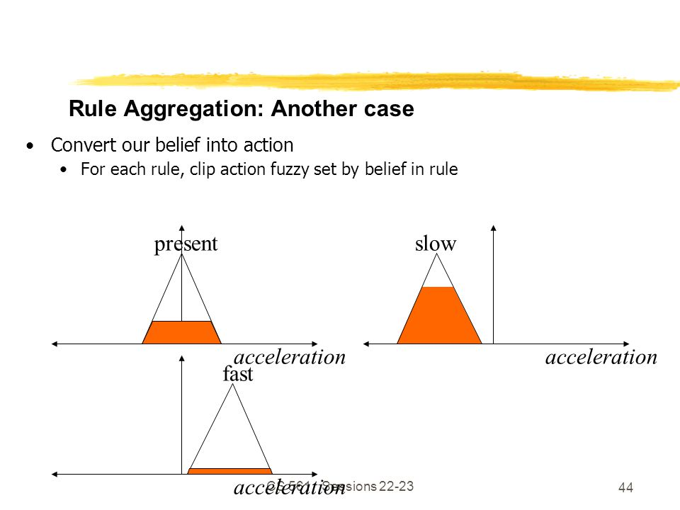 CS 561, Sessions 22-23 44 Rule Aggregation: Another case Convert our belief into action For each rule, clip action fuzzy set by belief in rule acceleration present acceleration slow acceleration fast