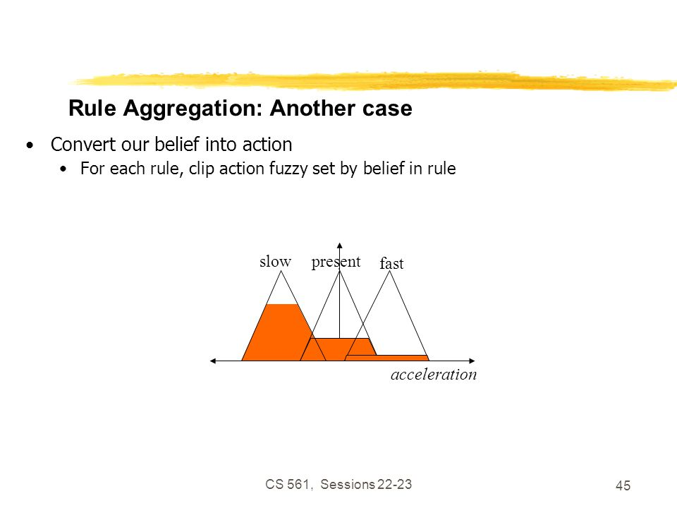 CS 561, Sessions 22-23 45 Rule Aggregation: Another case Convert our belief into action For each rule, clip action fuzzy set by belief in rule acceleration presentslow fast