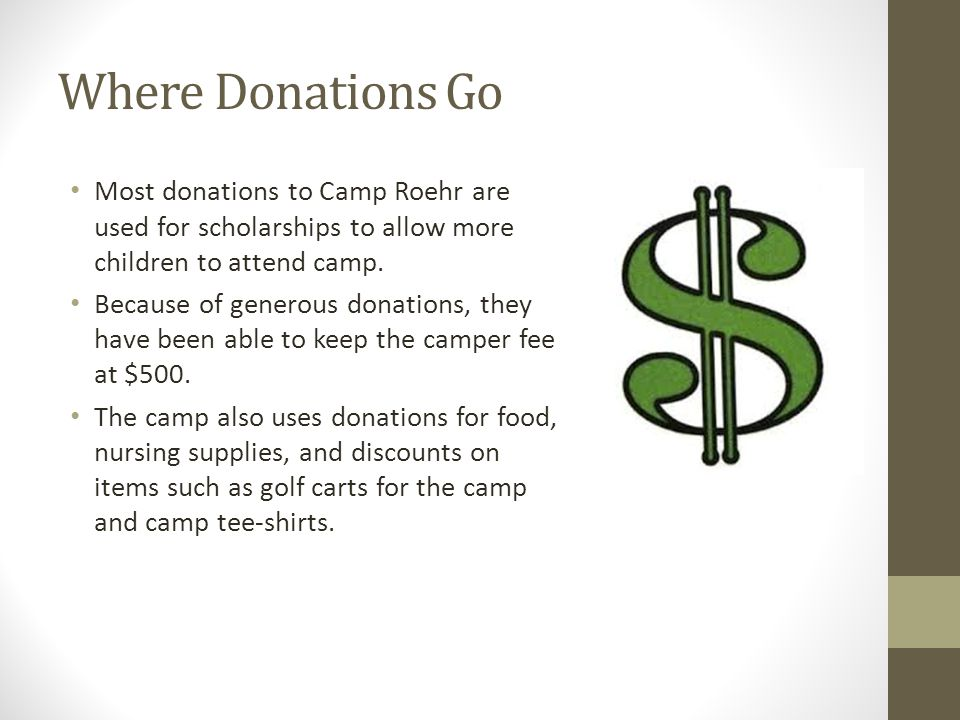 Why I Chose Camp Roehr Camp Roehr deserves our donation because they all do the best they can to give amazing kids an amazing week.