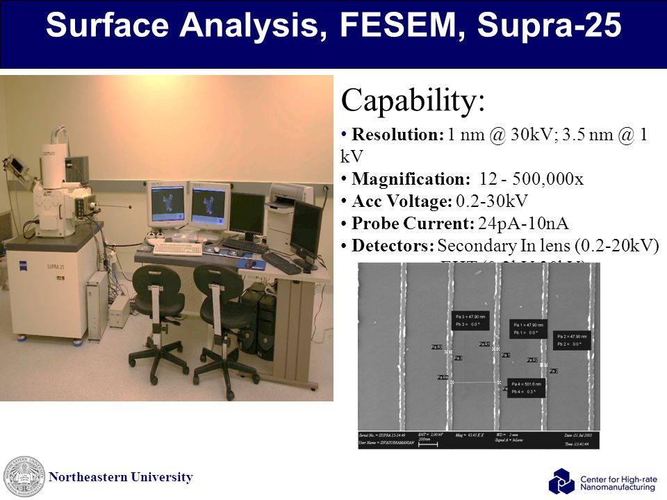 Northeastern University Surface Analysis, FESEM, Supra-25 Capability: Resolution: 1 nm @ 30kV; 3.5 nm @ 1 kV Magnification: 12 - 500,000x Acc Voltage: