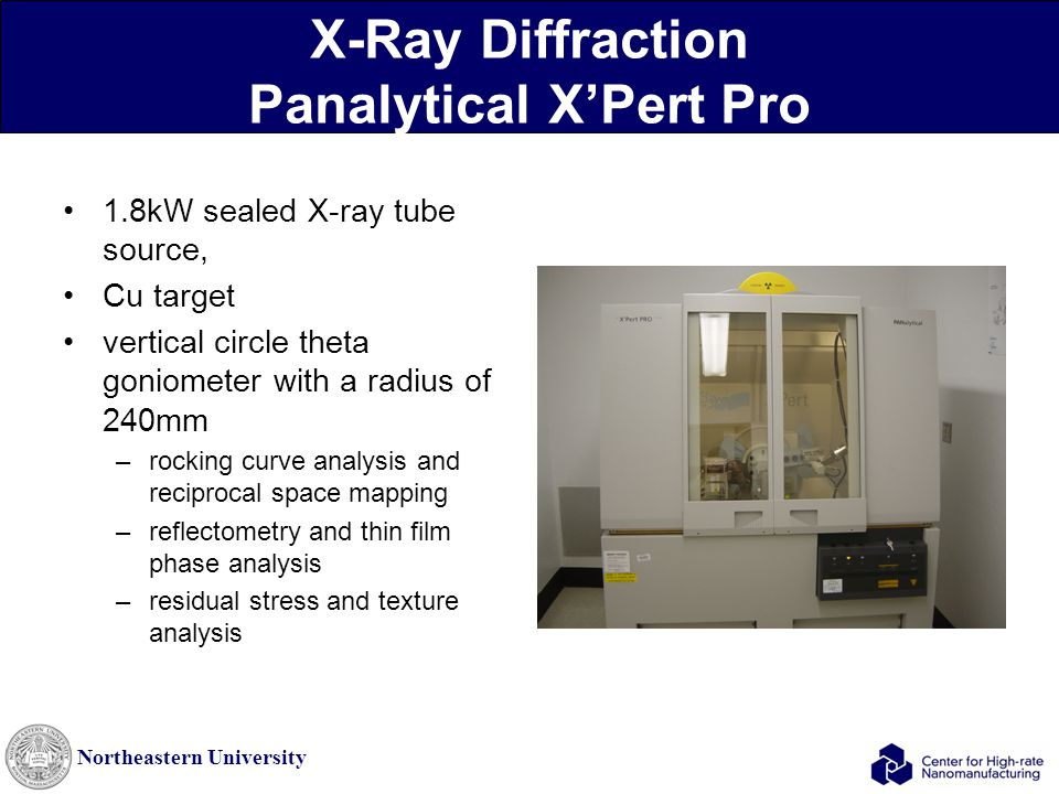 Northeastern University X-Ray Diffraction Panalytical X'Pert Pro 1.8kW sealed X-ray tube source, Cu target vertical circle theta goniometer with a rad