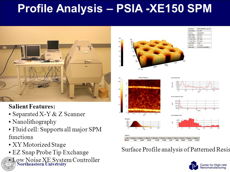 Northeastern University Surface Profile analysis of Patterned Resists Salient Features: Separated X-Y & Z Scanner Nanolithography Fluid cell: Supports