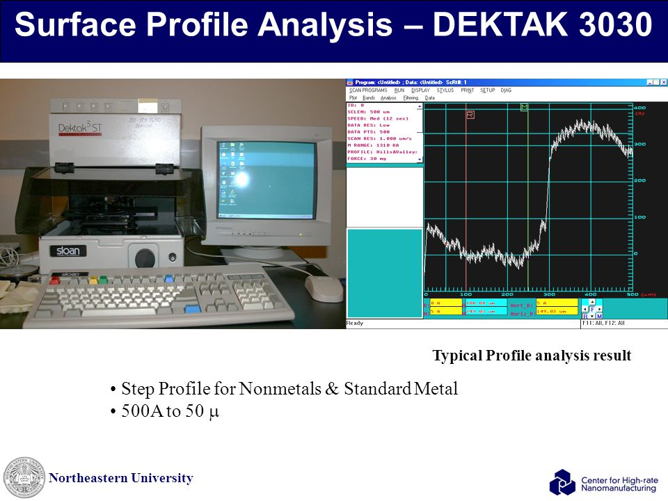 Northeastern University Surface Profile Analysis – DEKTAK 3030 Step Profile for Nonmetals & Standard Metal 500A to 50  Typical Profile analysis resul