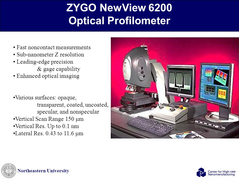 Northeastern University ZYGO NewView 6200 Optical Profilometer Fast noncontact measurements Sub-nanometer Z resolution Leading-edge precision & gage c