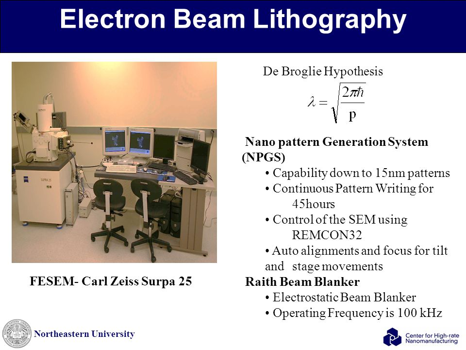 Northeastern University Electron Beam Lithography Nano pattern Generation System (NPGS) Capability down to 15nm patterns Continuous Pattern Writing fo