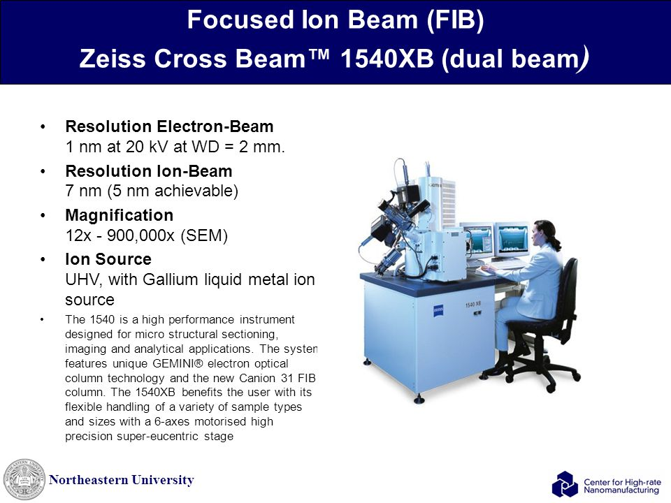 Northeastern University Focused Ion Beam (FIB) Zeiss Cross Beam™ 1540XB (dual beam ) Resolution Electron-Beam 1 nm at 20 kV at WD = 2 mm.