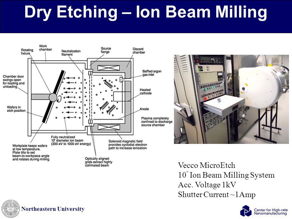 Northeastern University Dry Etching – Ion Beam Milling Vecco MicroEtch 10 Ion Beam Milling System Acc.