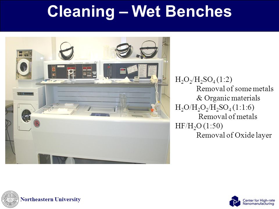 Northeastern University Cleaning – Wet Benches H 2 O 2 /H 2 SO 4 (1:2) Removal of some metals & Organic materials H 2 O/H 2 O 2 /H 2 SO 4 (1:1:6) Remo