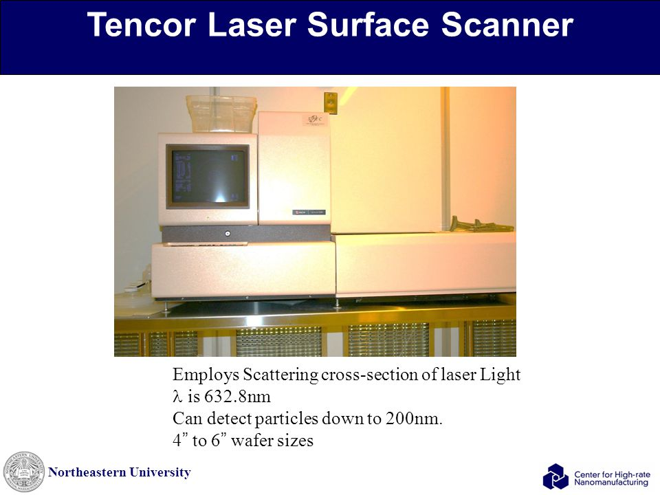 Northeastern University Tencor Laser Surface Scanner Employs Scattering cross-section of laser Light is  nm Can detect particles down to 200nm.