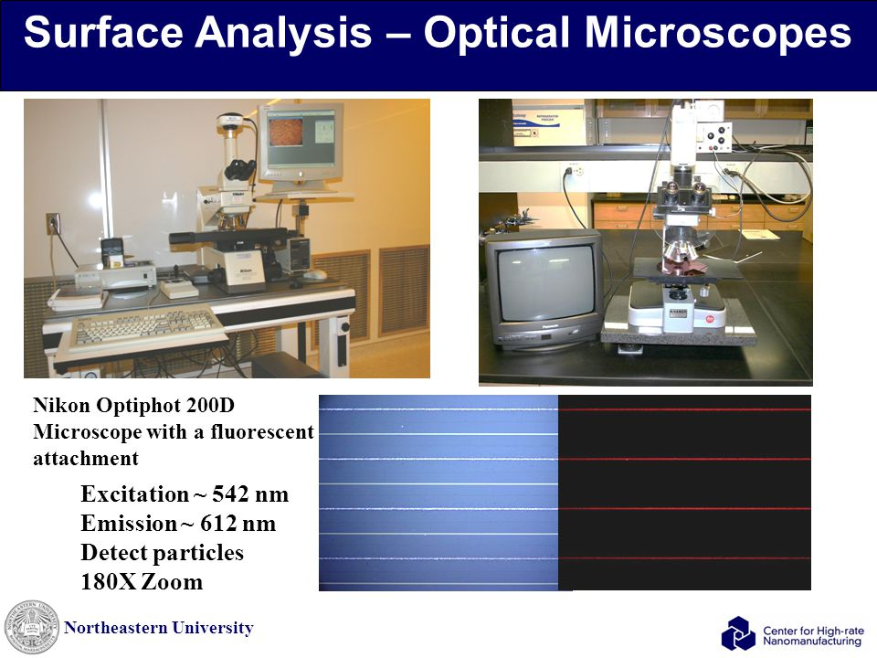 Northeastern University Surface Analysis – Optical Microscopes Excitation ~ 542 nm Emission ~ 612 nm Detect particles 180X Zoom Nikon Optiphot 200D Microscope with a fluorescent attachment
