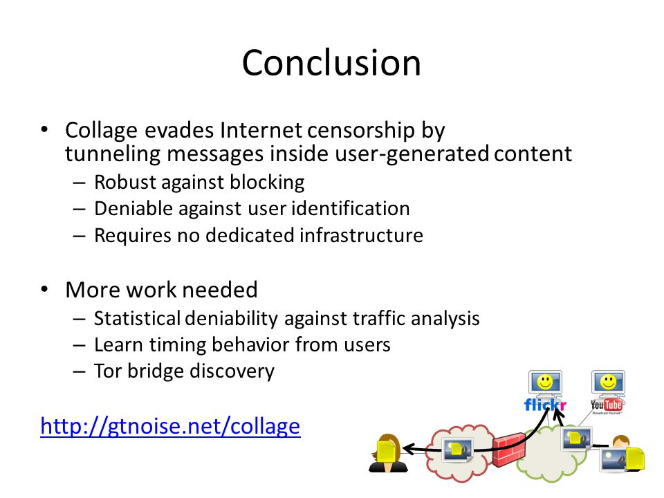 Conclusion Collage evades Internet censorship by tunneling messages inside user-generated content – Robust against blocking – Deniable against user identification – Requires no dedicated infrastructure More work needed – Statistical deniability against traffic analysis – Learn timing behavior from users – Tor bridge discovery http://gtnoise.net/collage