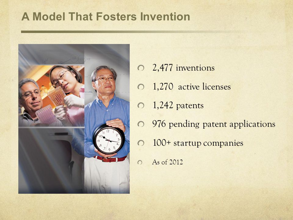 A Model That Fosters Invention 2,477 inventions 1,270 active licenses 1,242 patents 976 pending patent applications 100+ startup companies As of 2012