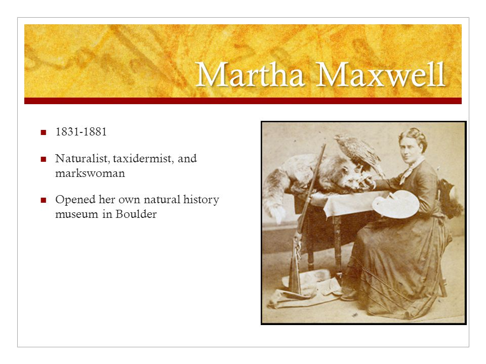 Martha Maxwell 1831-1881 Naturalist, taxidermist, and markswoman Opened her own natural history museum in Boulder