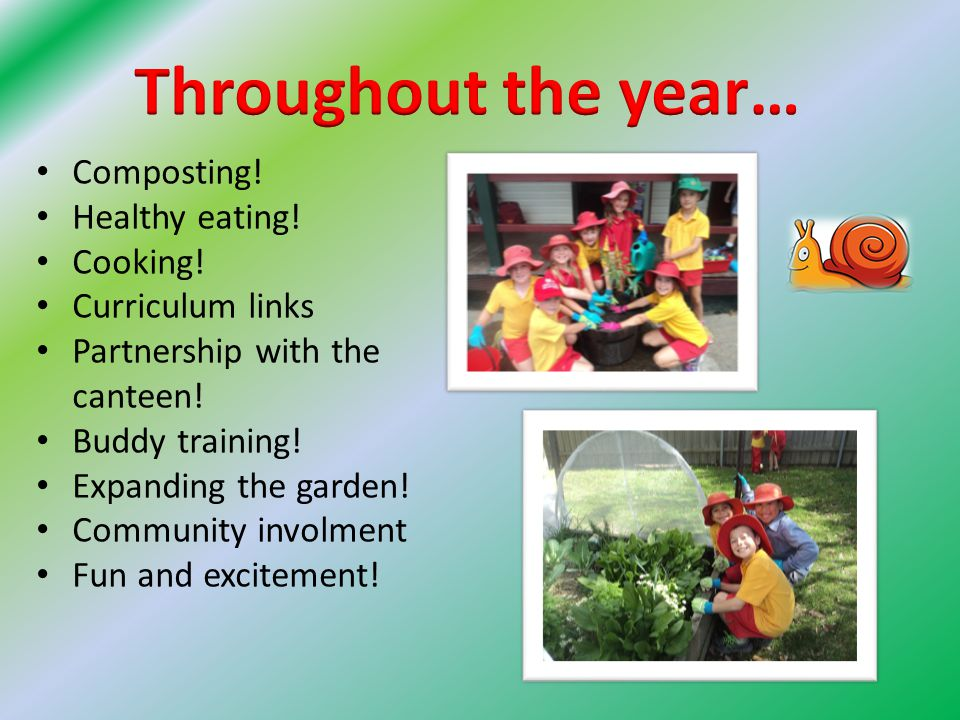 Composting. Healthy eating. Cooking. Curriculum links Partnership with the canteen.
