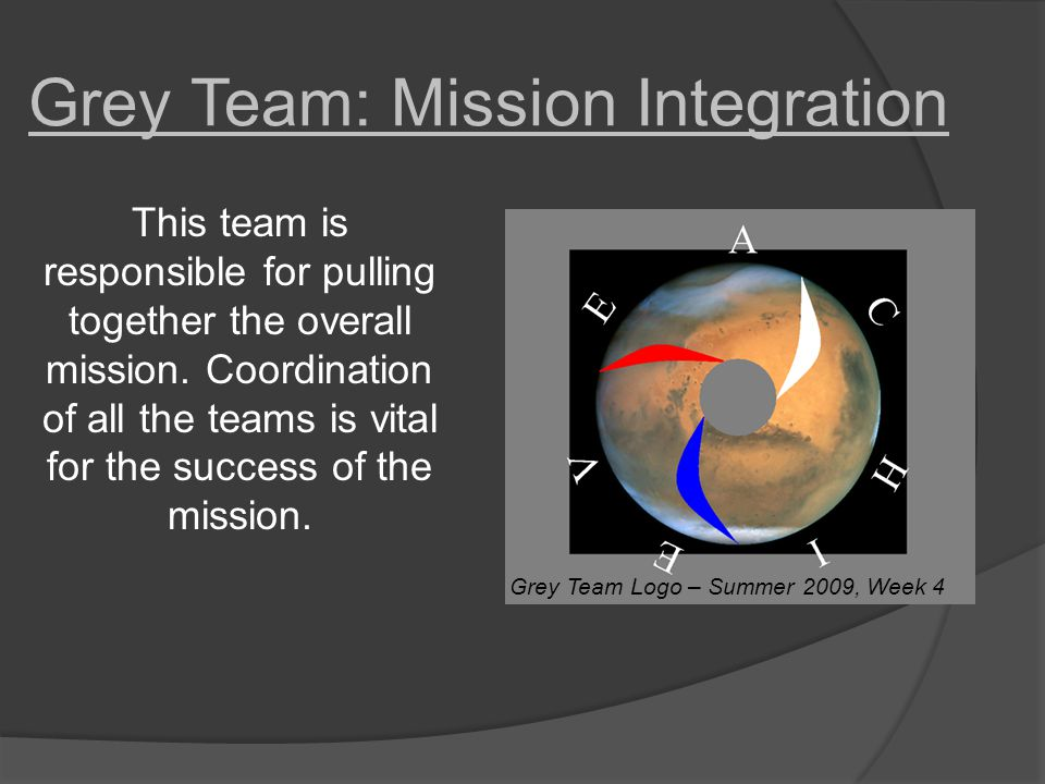 Grey Team: Mission Integration This team is responsible for pulling together the overall mission.