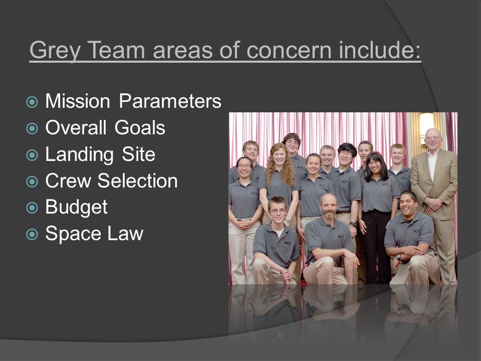  Mission Parameters  Overall Goals  Landing Site  Crew Selection  Budget  Space Law Grey Team areas of concern include: