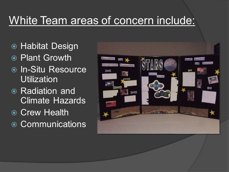 White Team areas of concern include:  Habitat Design  Plant Growth  In-Situ Resource Utilization  Radiation and Climate Hazards  Crew Health  Communications