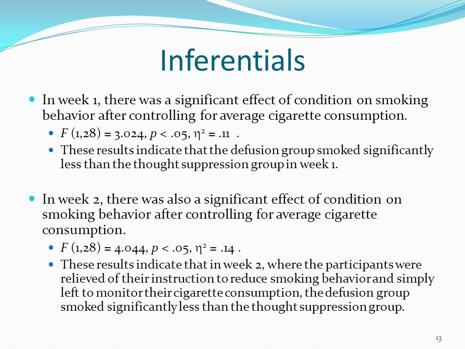 Inferentials In week 1, there was a significant effect of condition on smoking behavior after controlling for average cigarette consumption. F (1,28)